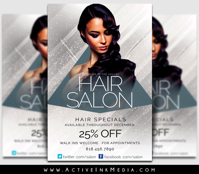 Upscale Hair Salon Stylist Flyer Template Active Ink Media
